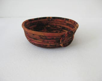 Small Brown Basket, Coiled Rope Basket, Coiled Rope Bowl, Hand Coiled Fabric Bowl, Clothesline Wrapped Fabric Bowl, Gift For Home,