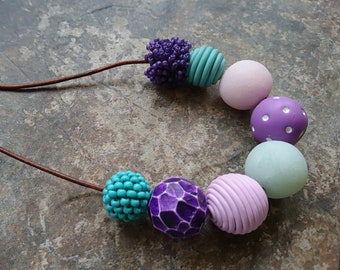 Purple and Turquoise Necklace, polymer clay necklace, chunky bead necklace