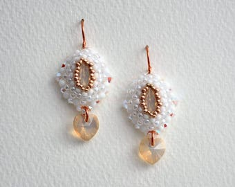 Earrings with Crystal Navette White Opal/Heart