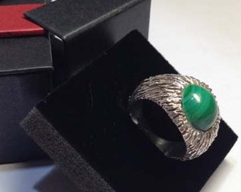 Silver Ring 925 and veined malachite. Exclusive Jewel. Handmade