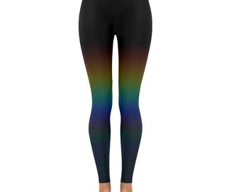 Rainbow leggings pride subtle ombre rainbow spectrum print yoga pants unusual altclothing unicorn ethereal size XS S M L XL 2XL alternative