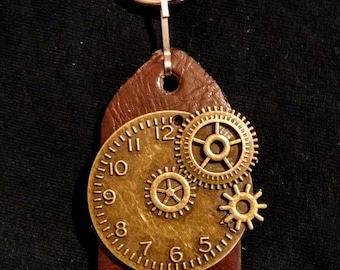 """Steampunk Recycled Leather Keychain """"Timepiece"""""""