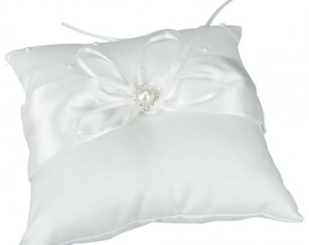 Pearl Satin Wedding Ring Pillow....Free Shipping In US!