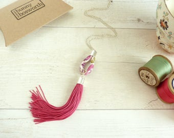 Long Tassel Pendant - Pink Fringe Necklace - Liberty Fabric Necklace - Extra Long Tassel - Gift for Her - Boho Necklace - Festival Fashion