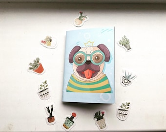 Funny pug notebook, blue and little. The best for gift