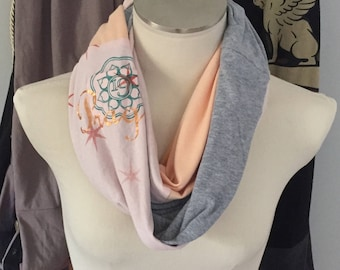 Spring Scarf, Unique scarves with Bling Artsy Scarf Blush Pink n Gray,Women's Upcycled Infinity scarf Handmade OOAK Funky scarf Prague