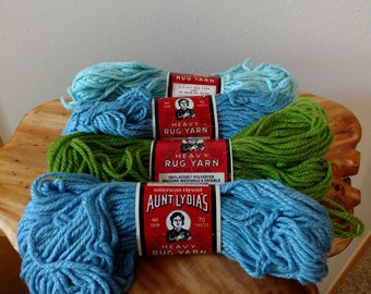 lot of 4 skeins vintage Aunt Lydia's Heavy Rug Yarn 70 yards each in light blue, medium blue and grass green by American Thread