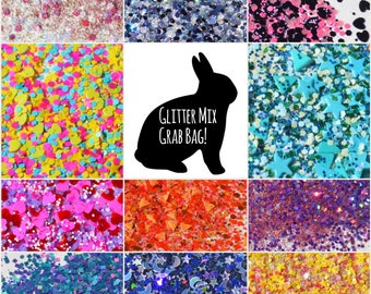 Glitter Mix Grab Bag - Solvent Resistant Glitter Mixes (2tsp Bag) ; Glitter Mix, Glitter for Slime, Nail Art, Scrapbooking, Nail Polish
