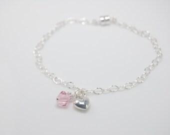 Girl's braclet, Girl birthstone bracelet, Sterling silver bracelet with heart charm and birthstone bead