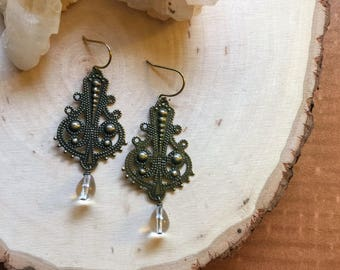 brass moroccan earrings | filigree earrings | gypsy earrings | art nouveau earrings | teardrop earrings | boho chandelier earrings