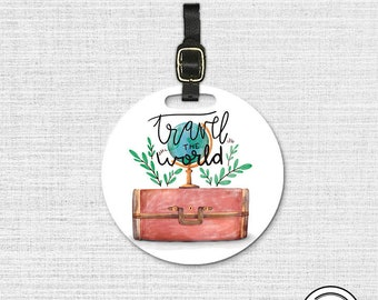 Travel The World Globe Suitcase watercolor Round Luggage Tag, Single tag with Strap 3.5 Inch Round Custom Text on Back