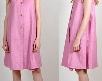 vintage Bonnie Cashin 1960's pink leather dress!  H16