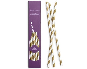 Paper Straws | Gold and White Striped Paper Straws | Gold | High Quality | Retro Straws | Party Supplies | The Party Darling
