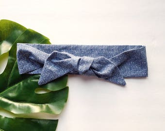 Blue Crosshatch - Headband Headscarf Neckscarf Adult
