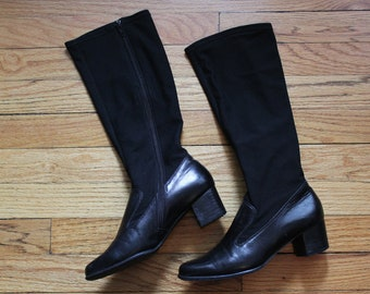 Vintage Ros Hommerson Black Leather Gogo Boots With Stretchy Skin Tight Calf Size 6