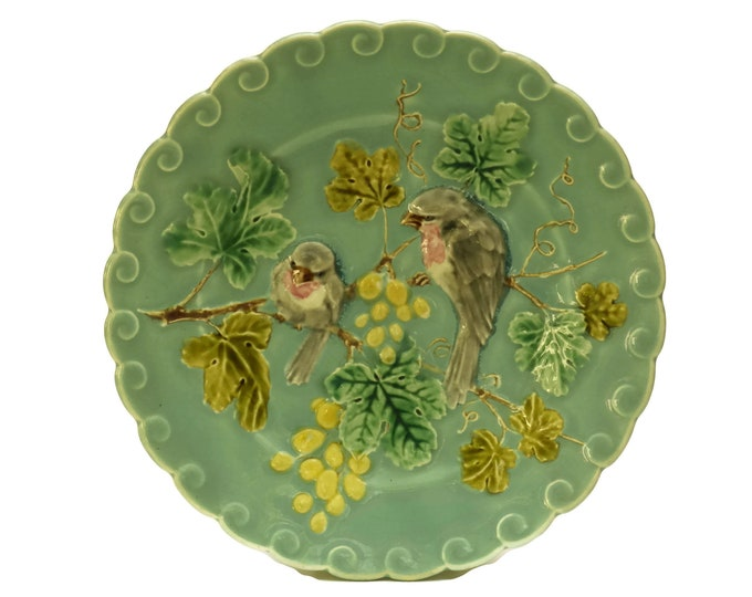 French Blue Majolica Bird Plate with Grapes. Antique Sarreguemines Kitchen Wall Decor. Turquoise Ceramic Leaf Plate.