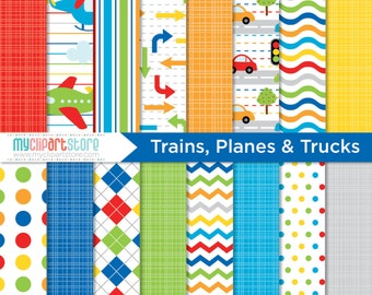 Digital Paper - Trains, Planes, Cars and Trucks, Scrapbook Paper, Digital Pattern, Commercial Use, JPEG, PDF