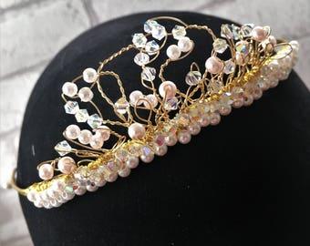 Crystal and pearl tiara,Gold Bridal Tiara,Swarovski crystals and pearls,Pearl and crystal tiara,Prom tiara gold,Wedding tiara with crystals