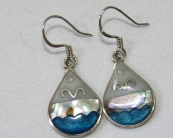 Abalone Silver Earrings, Tear Drop Shape, Blue Ocean, Waves