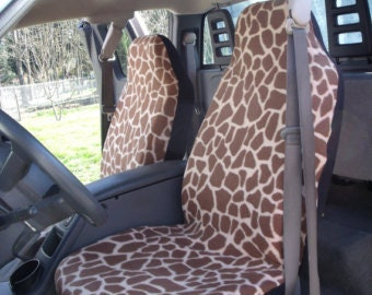 1 Set of Brown Giraffe Print, Car Seat Covers and steeling wheel cover custom made.