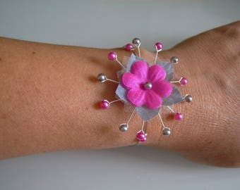 Bracelet Original grey/pink Fuchsia p dress bridal/wedding/party/ceremony/cocktail flower/beads (cheap)