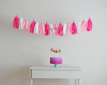 Pink Love Garland Paper Tassel Garland, Tissue, Wedding, Tassel Garland, Party Banner, Tassels, Pastel Tassels,Birthday Decoration