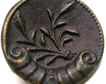 "Antique Button, Victorian Sea shell with plant & purple tint, 1"". Plant life."