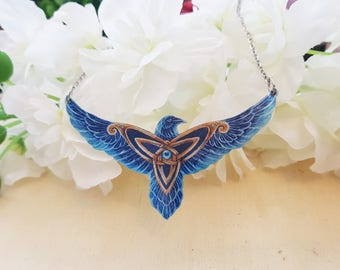 Celtic Triskel Knot Third Eye Raven Crow Tribal Totem Pagan Bird Necklace