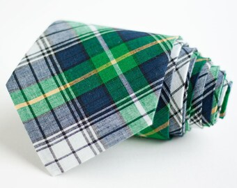 Necktie, Neckties, Mens Necktie, Neck Tie, Mens Necktie, Groomsmen Necktie, Ties, Wedding Neckties - Navy And Green Organic Madras Plaid