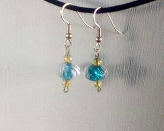 Handmade Blue and Yellow Glass Earrings