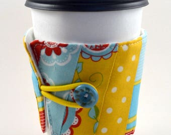 Reusable Coffee Sleeve- yellow blue red flowers and polka dots