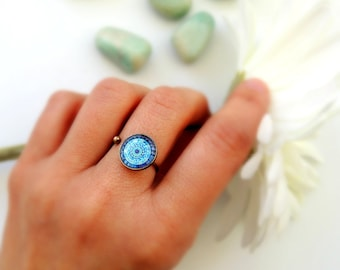 Healing Ring Boho Ring MOON MANDALA Ring Blue Mandala Jewelry Healing Jewelry Moon Ring Mandala Art Print Gypsy Ring Meaningful Ring
