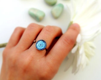 Healing Ring MOON MANDALA Ring Blue Mandala Jewelry Healing Jewelry Moon Ring Meaningful Ring Mandala Art Print Gypsy Ring Boho Ring