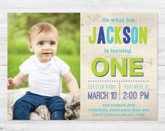First Birthday Invitation Boy, Blue And Green Birthday Invitation, Any Age, Photo Birthday Invitation, First Birthday, Printed, Printable