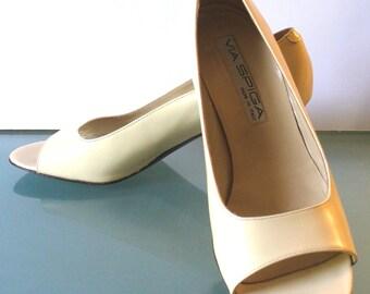 Via Spiga Made in Italy Bone Peep Toe Heels