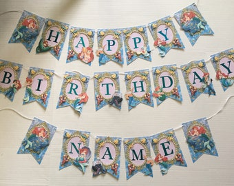 Ariel little mermaid birthday banner includes name up to 4 letters
