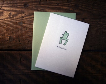 "Letterpress Printed ""Thinking of You"" Frog Card - Single"