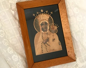 Vintage framed Polish lithograph and straw art picture of the Virgin Mary and Jesus
