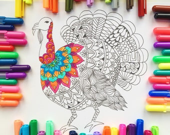 Coloring page Thanksgiving, turkey coloring page, adult coloring page, Thanksgiving coloring page, Thanksgiving download