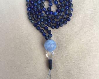 Lapis Lazuli and Blue Lace Agate Mala