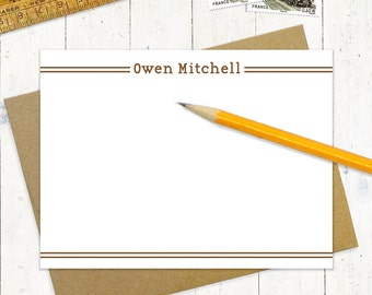 personalized flat note cards set - DOUBLE LINES - set of 12 - personalized stationery - stationary cards - choose color