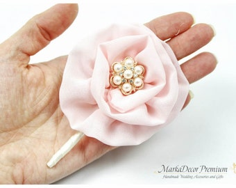 Groom Brooch Boutonniere Wedding Bridal Flower Father Corsage with Flowers, Brooch, Crystals, Pearls  in Ivory, Light Pink