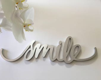 Smile wall decor, mantel decor, home decor, wall hanging,  unique gift, smile word art, smile wall hanging, photo prop,smile metal art,smile