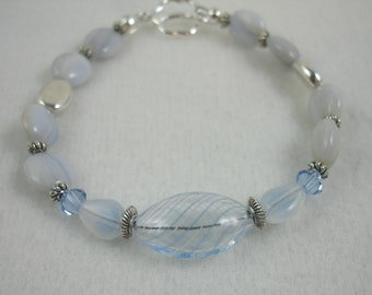 Bracelet with blue lace agate stones and hollow glass bead, light blue bracelet, toggle clasp