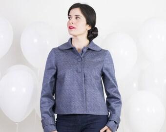 1950s style short jacket - Retro spring jacket with peter pan collar - Silk and cotton mid-season jacket for women - Herringbone jacket