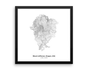 Mount Jefferson, Contour Map, Oregon, Volcano, Gifts for Hikers, Oregon Wall Art, White Mountains, Relief Map, Mountaineering, Mountain Art