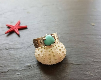 BOHO TURQUOISE RING, sterling silver ring,  , size 9, one of a kind, summer ring, blue color