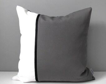 Grey & White Outdoor Pillow Cover, Modern Sunbrella Pillow Cover, Decorative Color Block, Throw Pillow Case, Black and Gray Cushion Cover