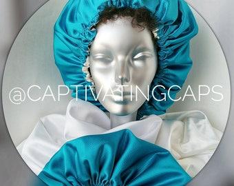 Caribbean Blue Reversible Bonnet, Mother's Day, Cruise, Makeup Artist, Photoshoot, Sleep Cap