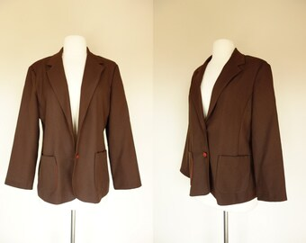 1970s brown blazer, polyester blazer w/  square patch pockets, Large, US 10